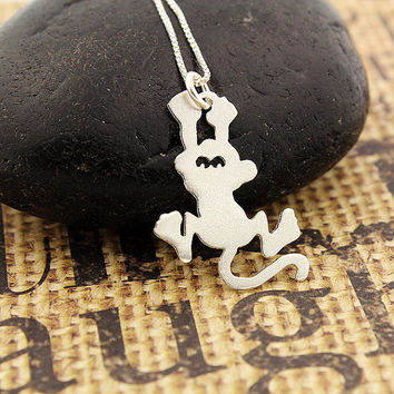 Funny hanging monkey sterling silver necklace - Shiny Texture finish - pendant with italian box style chain choose your length 16 18 20 inch
