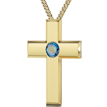 """Psalm 23"" in French, 24k Gold Plated Necklace, Swarovski"