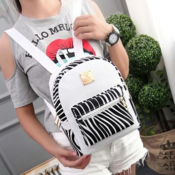 leather waterproof backpack lady cute zebra