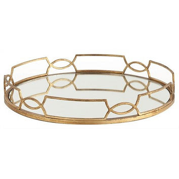Arteriors Home Cinchwaist Round Gold Leaf Mirror Tray - Arteriors Home 3115