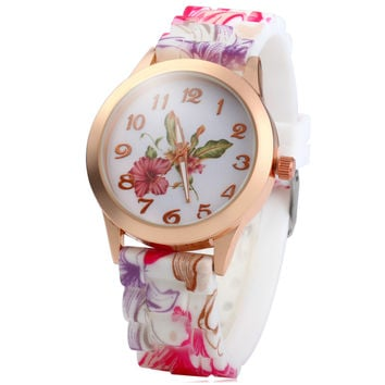 Pink and Purple Golden Dial Floral Watch