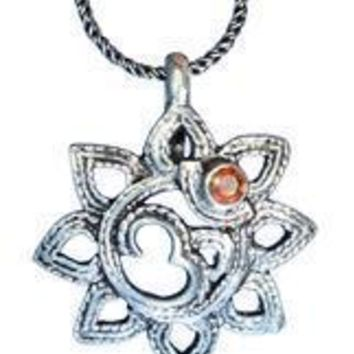 Sterling Silver Om Lotus Flower with Garnet Pendant