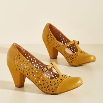 Opting for Intrigue T-Strap Heel in Mustard | Mod Retro Vintage Heels | ModCloth.com