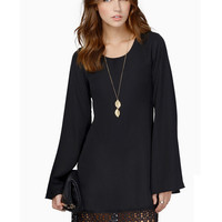 Bell Sleeve Crochet Lace Accent Chiffon Mini Dress