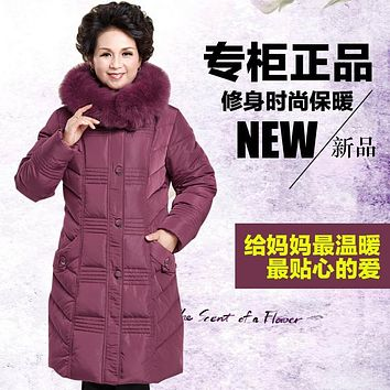 Fashion Mother's Winter Warm Clothing Duck Down Coat Jacket Long Large Genuine Fox Fur Collar Hood Plus Size 2XL 3XL 4XL 5XL