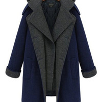 Navy Woolen Coat With Removable Hood - Choies.com