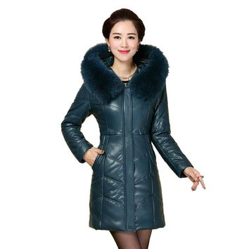 Plus size 8XL Winter Jacket New Style Women Down Cotton Overcoat Thick Warm Coat leather Slim Hooded Fur collar Jacket Female