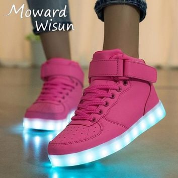 High Quality Children Luminous Sneakers LED Shoes with Light Up Glowing Shoes for Kids Boys Girls Baskets LED Slippers