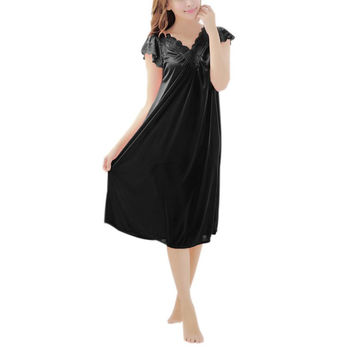 Women Silk Lace Robe Dresses Sexy Solid Nightdress Nightgown Sleepwear Lingerie