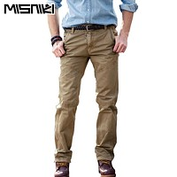 MISNIKI Hot Fashion Casual Trousers Men Cargo Pants Casual Slim Fit Cotton Mens Pants