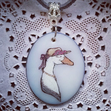 handmade DUCK DAME animal necklace SOPHISTICRITTER animal jewelry handpainted lady duck oval pendant
