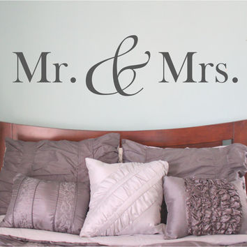 Mr and Mrs - Mr and Mrs Sign - Mr and Mrs Wall Decal - bedroom wall decal - bedroom decor - bedroom wall decor - master bedroom decor