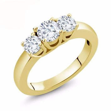 Forever Classic 1cttw  VG Moissanite 14K Yellow Gold Three-stone Engagement Anniversary Ring
