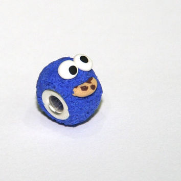 Cookie Monster bead Sesame street Mother's day gift for Mom gift for her large hole Fits Pandora Chamilia Troll Biagi system European bead