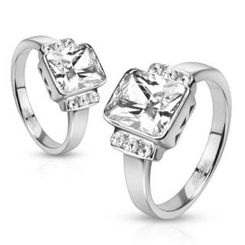 Radiant Cut Solitaire and Paved CZs on Sides Stainless Steel Engagement Ring