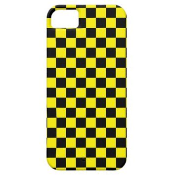 Checkered Black and Yellow iPhone 5 Cases