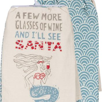 Mermaid Wine and Santa Dish Towel SET