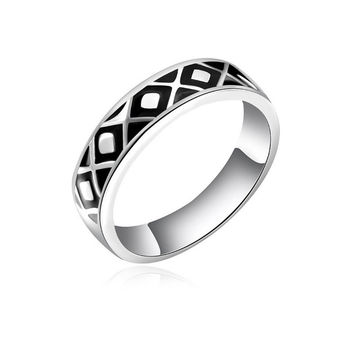 Silver Geometric Pattern Ring