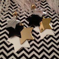 Precious Metal Dangling Stars Earrings by imyourpresent on Etsy