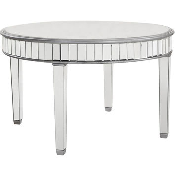 "Chamberlan 48""x30"" Mirrored Round Dining Table, Silver"