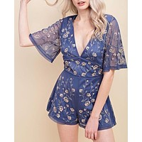 honey belle - v neck floral embroidered short sleeve romper - indigo