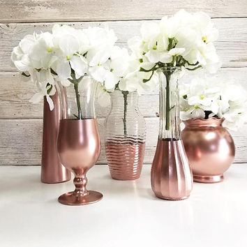 5-  Metallic Painted  Flower Vases-Country Decor-Cottage Chic-Shabby Chic-French Chic-Bus Vases-Rose Gold Metallic-Wedding Decor