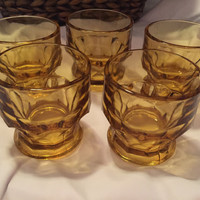 Set of Vintage Jellow Gold 1960 Anchor Hocking Amber Small Vintage Drinking Juice Glasses