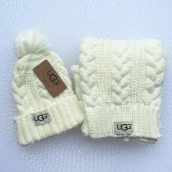 PEAPOP7 UGG Fashion Winter Knit Women Men Beanies Scarf &Cap