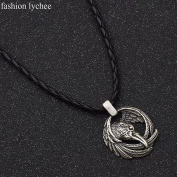 LMFONIS fashion lychee Norse Viking Odin Raven Pendant Long Rope Chain Animal Power Necklace Antique Silver Color Amulet Men Jewelry