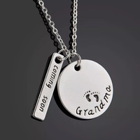 Baby Announcement to Grandma Hand Stamped Necklace
