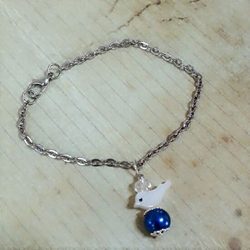 Bird bracelet, blue pearl, simple, charm