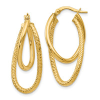 Leslie's 14k Polished and Textured Hinged Hoop Earrings LE753