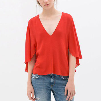 Red Chiffon V-Neck Ruffled Sleeves Top