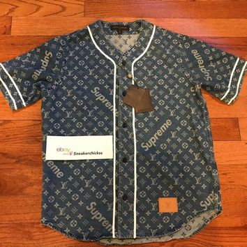 LOUIS VUITTON x SUPREME LV Monogram Blue Denim Baseball Jersey MEDIUM M