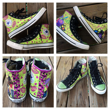 Girly Bling Converse Makeup Custom Kisses Hand Painted Converse Leopard Print Wild Neon Shoes Lipstick Eyeshadow Mascara