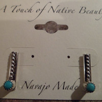 Authentic Navajo,Native American,Southwestern sterling silver Sleeping Beauty turquoise stud earrings. 5mm stones.