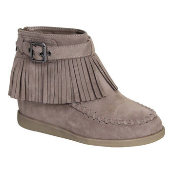 Taupe Fringe Tobery Ankle Boot