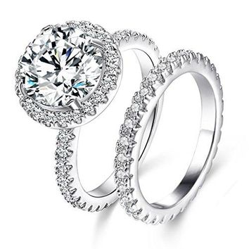 Jiangyue Lady Rings Halo Big Stone AAA Cubic Zirconia Rhodium Plated Party Solitaire Jewelry Mother s Day Gift Size 510