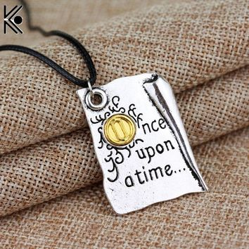 Freeshipping 1PC Once Upon A Time Storybook Pages necklace New fashion jewelry chain link statement necklace