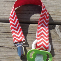 Red Chevron Ribbon, Chevron Pacifier Holder, Binky Clip, Pacifier Clip or Toy Clip