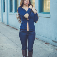 Brave Soul Elbow Patch Top in Navy