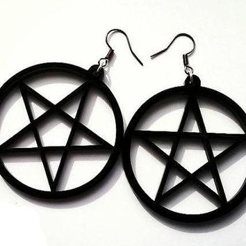 Stylish Black NuGoth Pentagram Witch Earrings