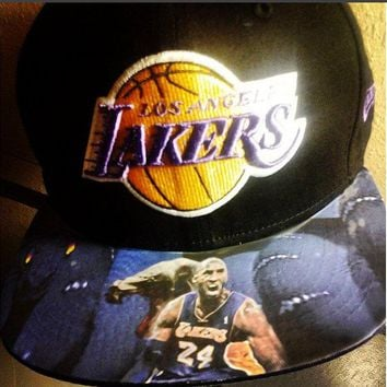 Los Angeles Lakers Authentic New Era Snapback or Fitted Cap with 'Black Mamba' custom
