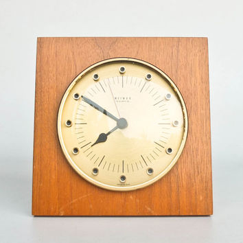 Vintage Wall Clock / Ply Wood Brass /  Weimar , Germany