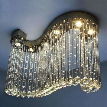 L80*W30*H60cm Modern creative crystal hanging lighting chandelier s-character letter shapde bedroom living room lam ceiling lamp