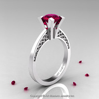 Modern Armenian 14K White Gold Lace 1.0 Ct Garnet Solitaire Engagement Ring R308-14KWGG