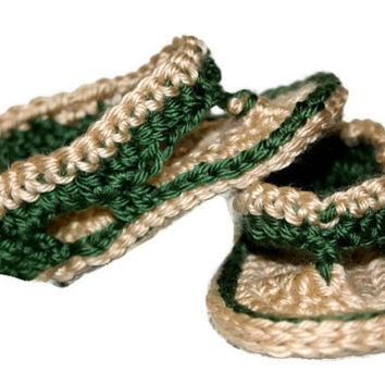Crochet Baby Boy Sandals Tan and Green Flip Flops Summer Spring Shoes Baby Booties Photo Photography Prop