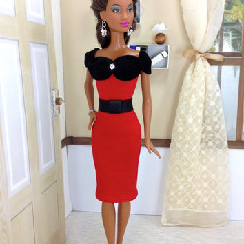 Barbie Doll Dress - Black and Red Dress with Belt, Shoes, Earrings, and Bracelet