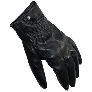 Men's Two Buttons Soft Lining Gloves - Black