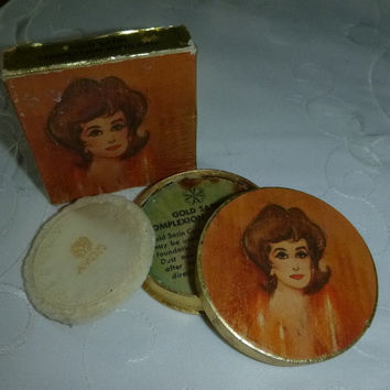 Rare 60's Avon Face Powder Box Vintage Avon Beauty Vanity Display Collectible Gold Satin Highlight Powder Makeup New Old Stock Unused in Box